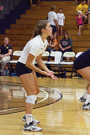 Blugold volleyball drop home opener in packed Zorn Arena