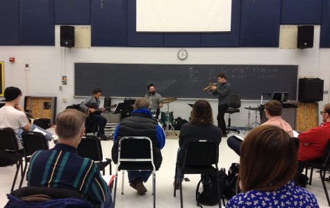 John Raymond & Real Feels share advice and a jazz performance with Eau Claire music students