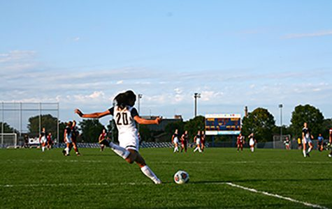 UW-Eau Claire varsity women's soccer team clashes with the Hamline Pipers