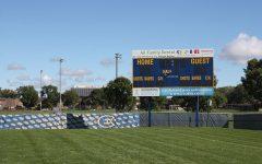 Women's varsity soccer team battles on the field in preseason game
