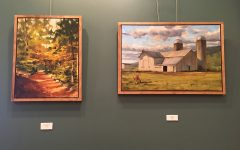 Traditional impressionistic oil paintings on display in Eau Claire art gallery
