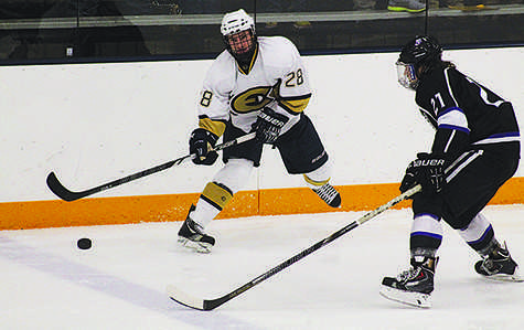 Junior forward Ross Anderson passes the puck during the Blugolds' 2-0 shutout win against No. 6-ranked St. Thomas (Minn.) on Friday at Hobbs Ice Center. © Elizabeth Jackson