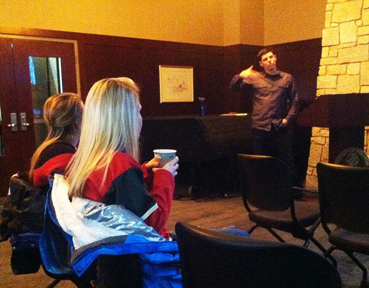 Professor Justin Patchin spoke Monday evening in the Alumni Room of Davies Center about his latest anti- cyberbullying book published in December: Words Wound: Delete Cyberbullying and Make Kindness Go Viral. © 2014 Courtney Kueppers.