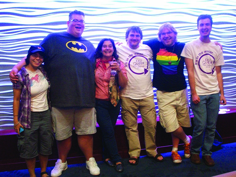 Posing with film director Anna Albelo, third from left, PRIDE students Stephanie Gottschalk, Joshua Zmarzly, Neil Robmann, Austin Shimko and Dylan Vorass attended the Eau Queer Film Festival in October. © 2013 Submitted.