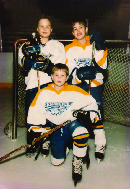 BROTHERLY COMPETITION: Joe Krause, top left, a junior at UW-Eau Claire, played youth hockey on the same team as his older brother, Pete Krause, right, and his younger brother, Adam Krause. Submitted