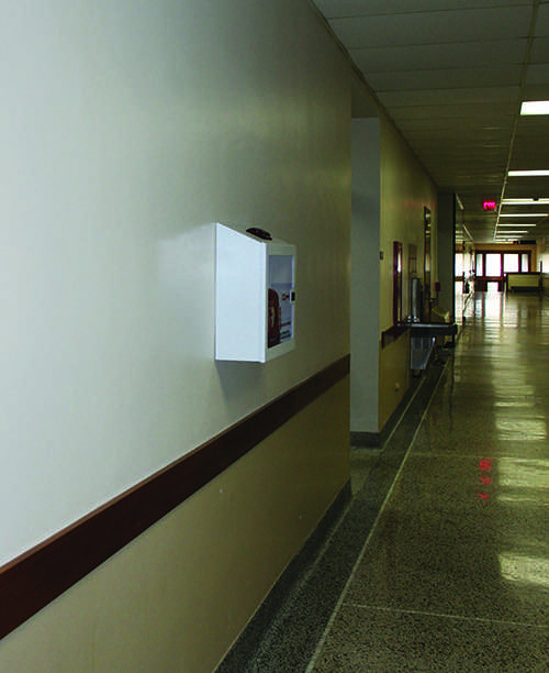 The process of replacing AEDs on campus should be complete by the end of the month. The devices are placed in convenient locations, such as across from the Schofield Auditorium in Schofield Hall.