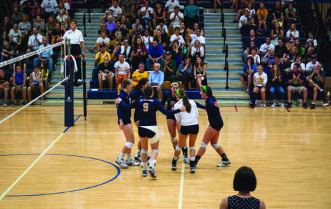 The Blugolds celebrate a point in a match Saturday against UW-La Crosse. The Eagles rallied to take a 3-2 victory.