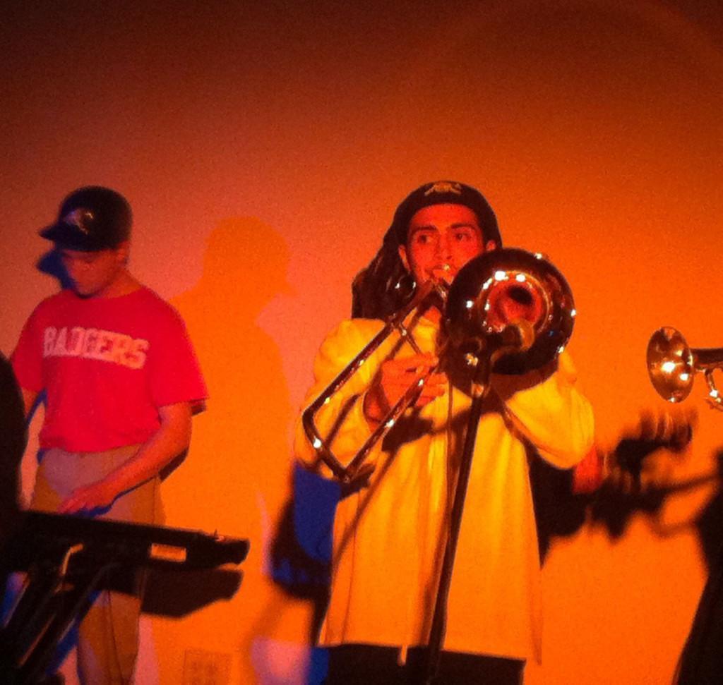 Henry Bergmann playing trombone for Doks Robotiks at the Pizza Plus concert Friday evening. - Photo by Tyler Henderson