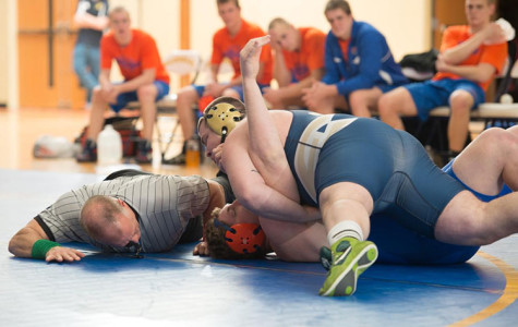 Sophomore Justin Karkula pinned UW-Platteville's Brandon Boyle to give the Blugolds their first WIAC victory since 2008.