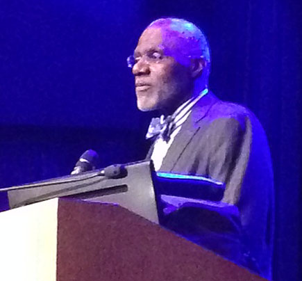 The first African-American Supreme justice in Minnesota, Alan Page, spoke this Wednesday in Schofield Auditorium about the importance of mentoring and being good role models for children. - Photo by Ellis Williams