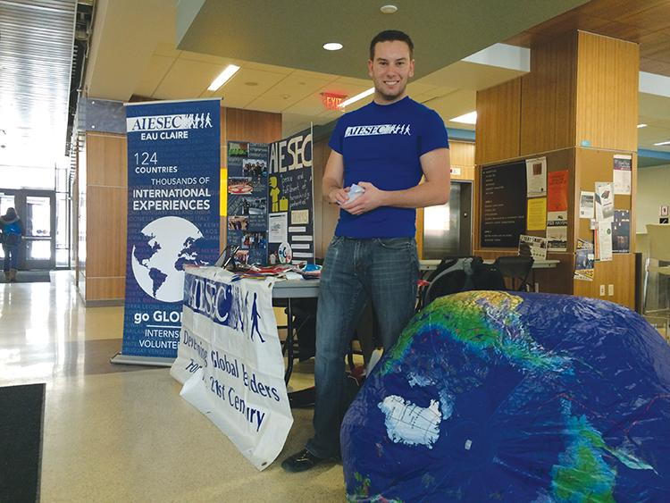 Nick Bustle, senior international business and finance major, tables for AIESEC last Friday in Davies.