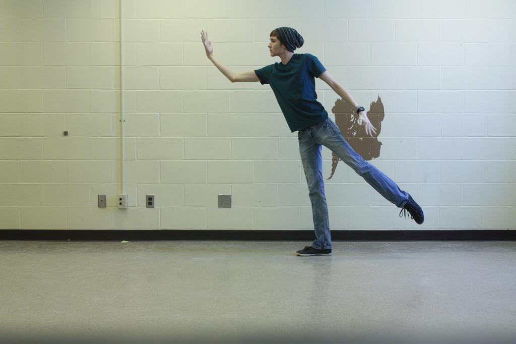 Staff Writer Brian Sheridan dances in Haas Fine Arts Center earlier this week to help relieve the stresses of schoolwork.