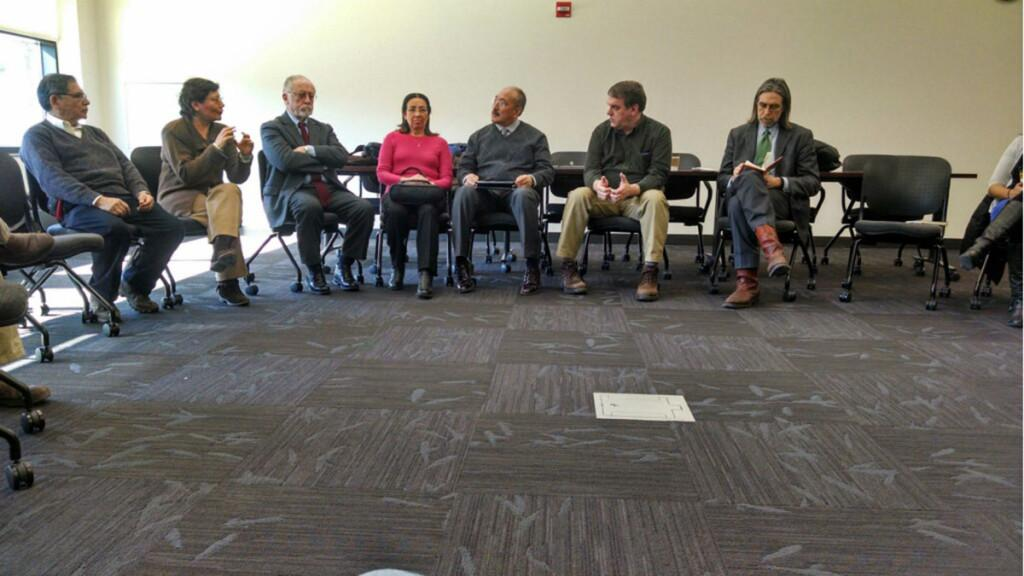 A panel made up both UW-Eau Claire and Pontificia Universidad Catolica del Peru faculty members discussed education inequities as well as a prospective partnership in immersion education between the two schools Tuesday in the Menomonie Room of the Davies Center
