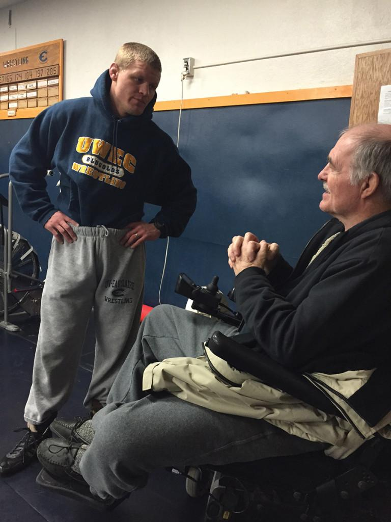 In January, Jared Evans was named head coach of the UW-Eau Claire wrestling and is now preparing for the WIAC Championships this Sunday. Last week Evans talked with Blugold Hall of Fame coach Don Parker prior to practice