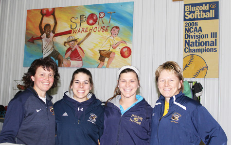 Robin Baker, Nikki Brooks, Amanda Fischer and Leslie Huntington wrap up a night working at Eau Claire's newest indoor practice space: The Eau Claire Sports Warehouse. Bake and Huntington also serve as coaches to Brooks and Fischer for UW-Eau Claire's women's softball team.