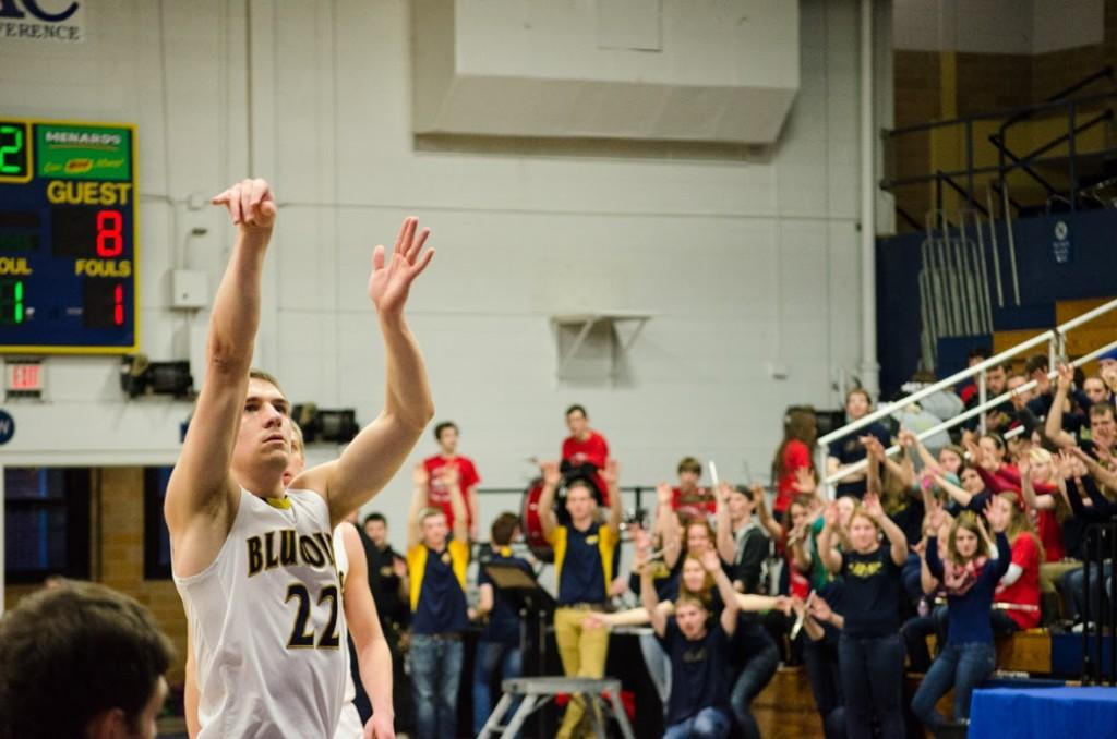 Senior Eric Effertz shoots a free throw Saturday when the Blugolds fell short to the Pointers.