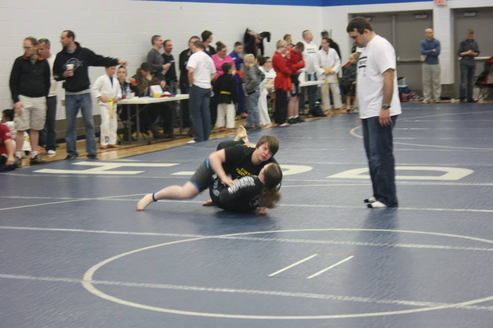 Herzfeld in the guard of an opponent at the 2013-2014 Hudson Grappling Tournament.