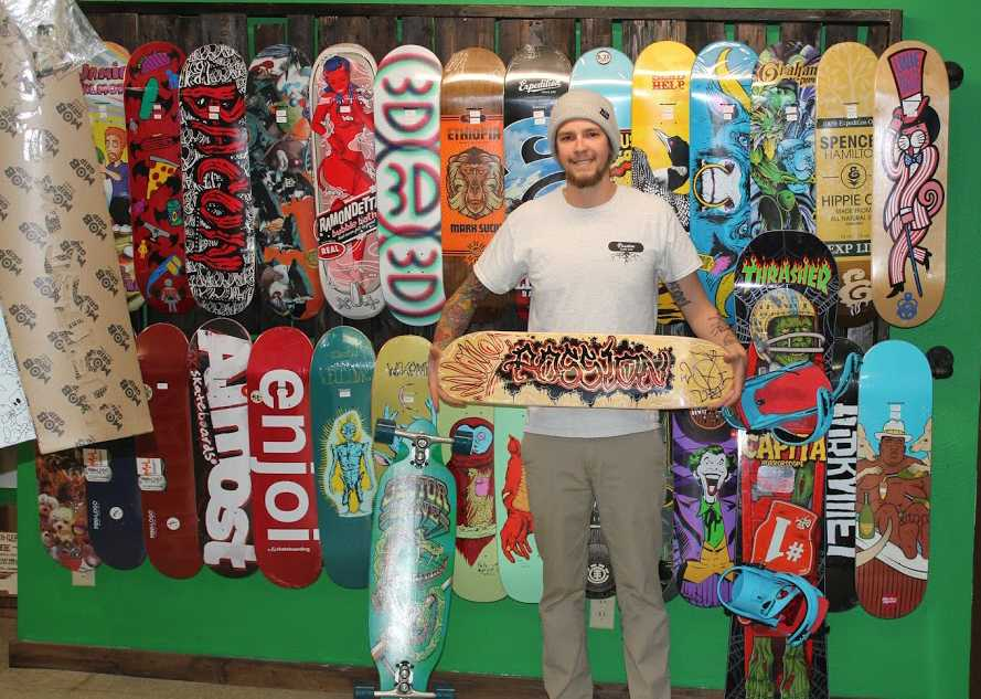 After a year in business Passion Board Shop located at 218 N. Dewey St., has become an ideal location for skaters to meet up in downtown Eau Claire.