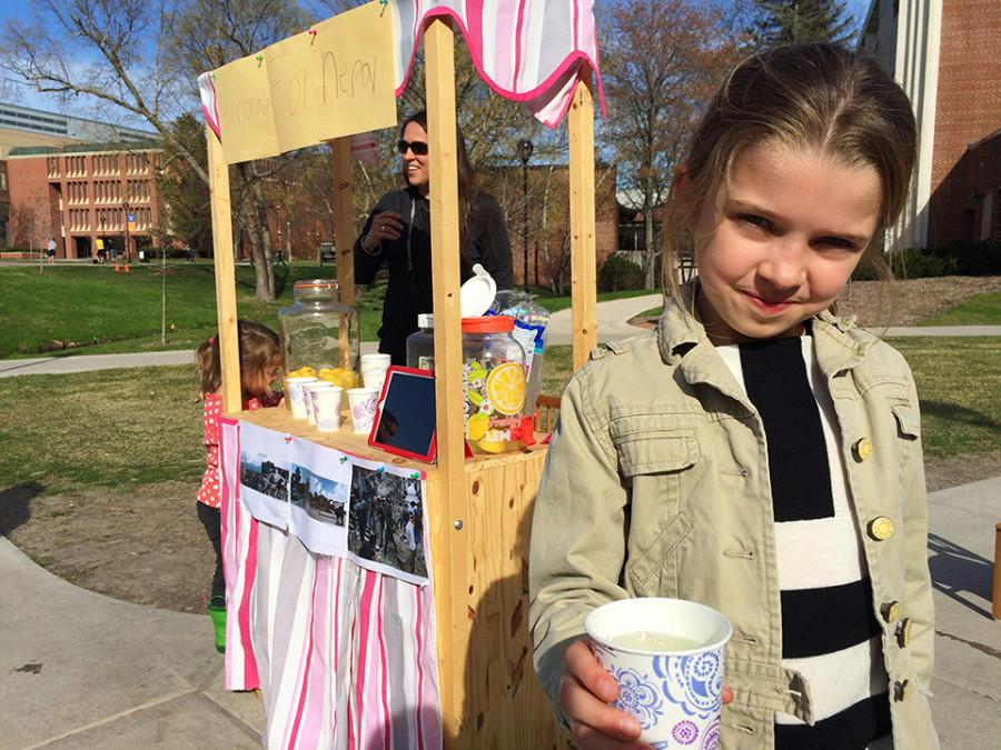 Sophia Lopez offered lemonade to passersby in exchange for a donation to the Nepali earthquake victims.