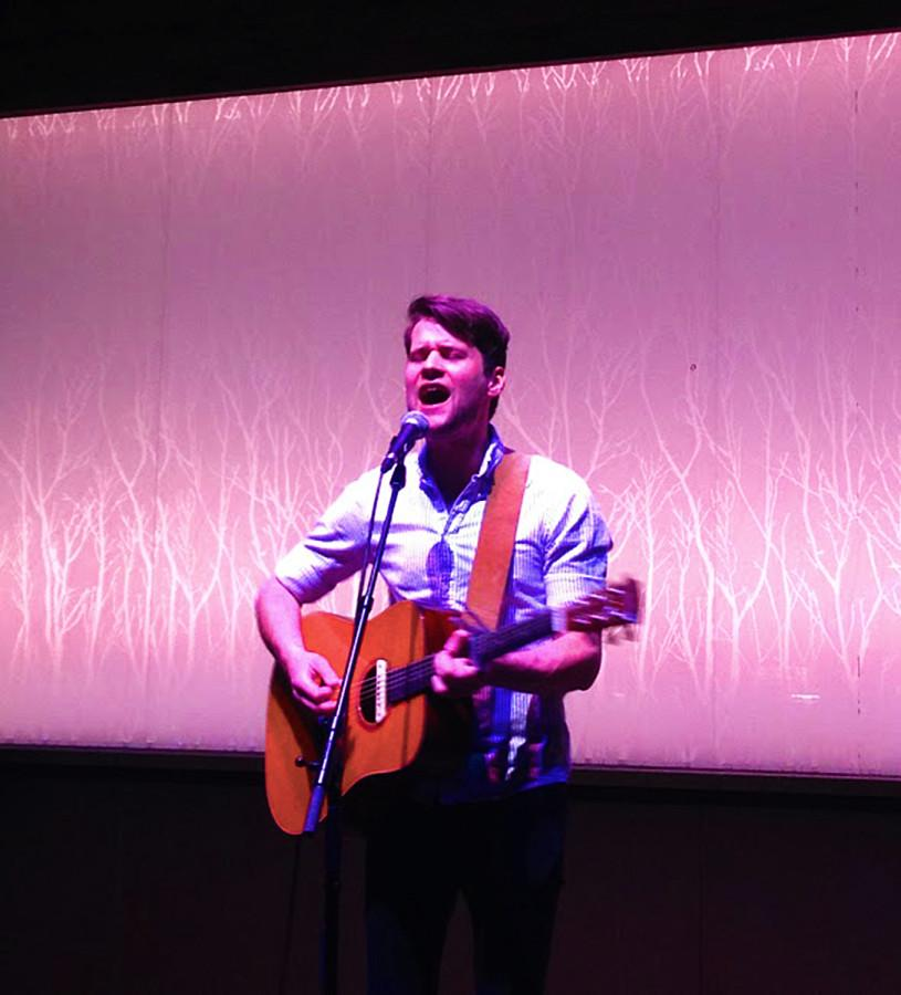 Matt Hires sings to the crowd at The Cabin on Friday.