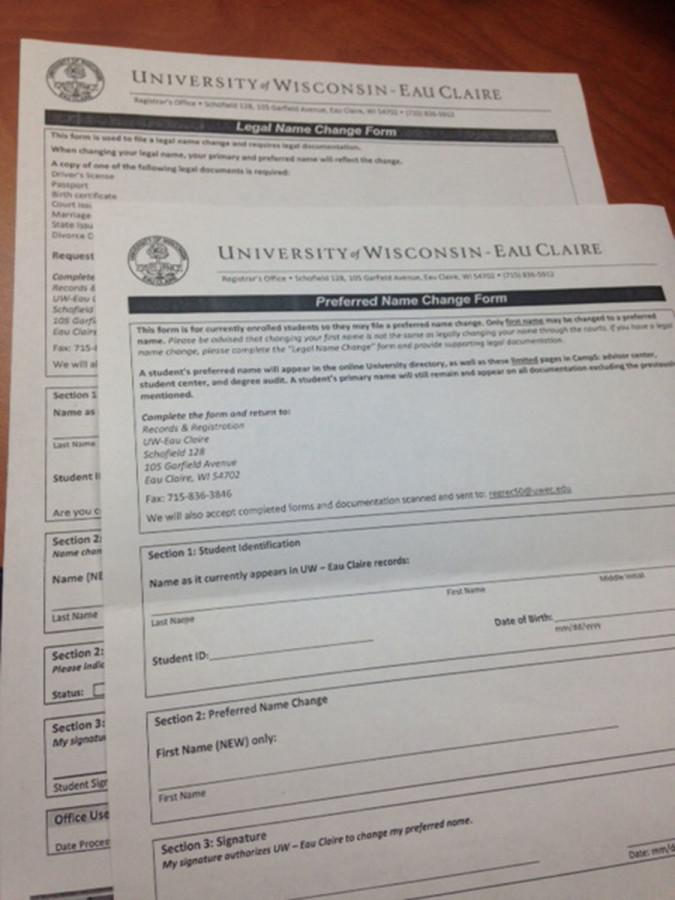 The two Name Change Forms that are available for students in Schofield Hall.