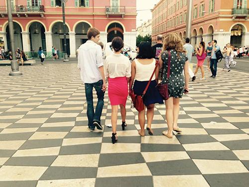 Sheridan walks around Nice, France with other students in his study abroad class.