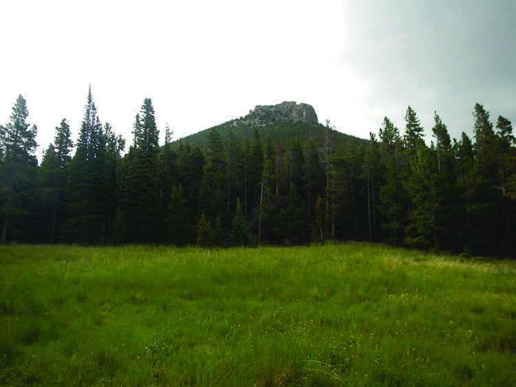 A view of the summit after storm clouds pass.