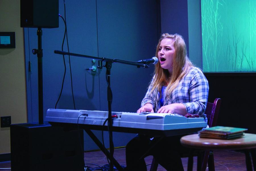 Parvin performs one of her songs on piano during her show at The Cabin on Saturday.