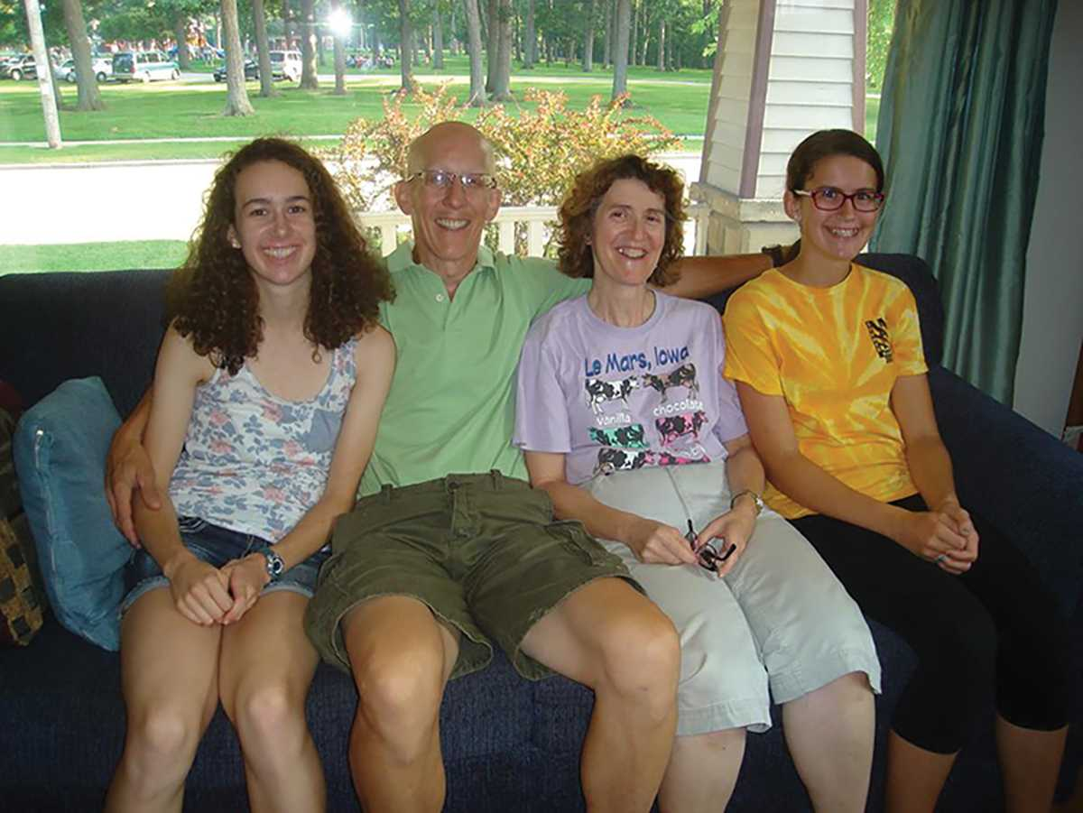 Gosling, far left, with her family at their home in Appleton before she left for her first semester in Eau Claire.