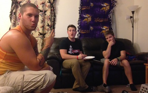 Pictured are Kritter's roommates hanging out on a typical night in their house.