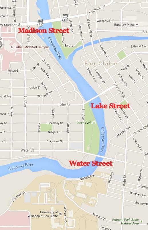 Eau+Claire+has+two+bridges+under+construction+along+a+mile+of+the+Chippewa+River