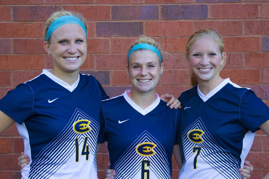 UW-Eau Claire women's soccer captains, Megan Hanson, Ashley Seymour and Ashley O'Connell all have different roles as leaders on and off the field. With Hanson and O'Connell sidelined with injuries, all three have adapted to new roles.