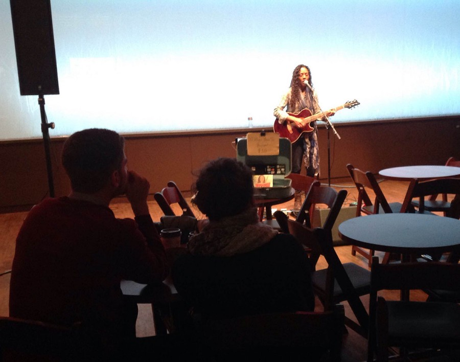 Lakin performs in The Cabin as the crowd watches Saturday Nov. 14.