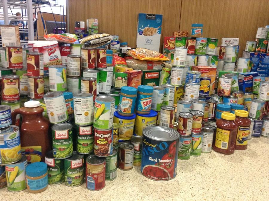 Students, faculty and staff donated food items to the Helping Hands Across America food drive hosted by Blugold Dining.