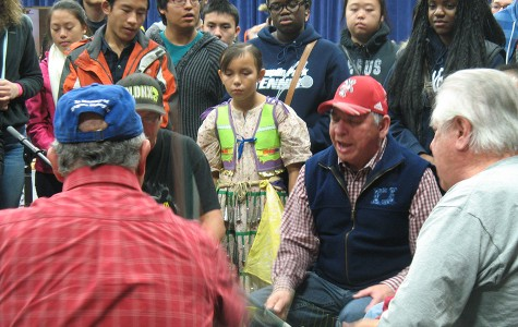 The Badger Singers singing group performed while college mentors and their mentees from Blugold Beginnings and students from College Possible out of the Twin Cities looked on at the powwow in Zorn Arena Nov 7.