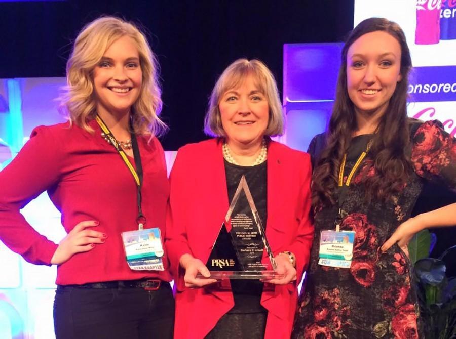 Barbara Arnold (middle) with students Katie Dean Miller and Brianna Truitt after accepting the Paul M. Lund Public Service Award Nov. 9 at the PRSA 2015 International Conference in Atlanta, Georgia.