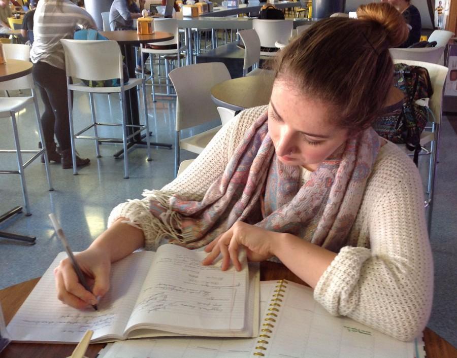 Lara Bockenstedt studying in the Davies Student Center.