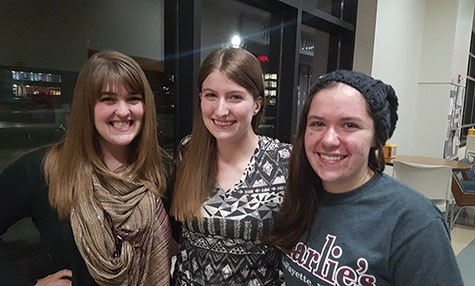 Members of the Events Production Crew(From left to right) Rachel Simonet, Cammy Rathsack and Meghan Stanford.