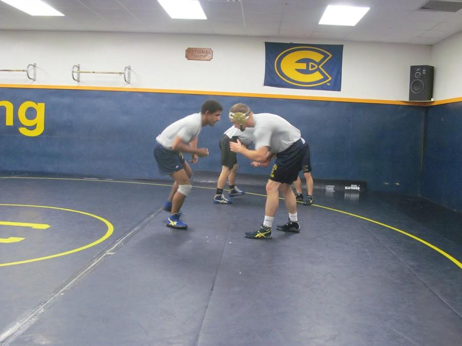 Alex Klienschmidt and Roy Munroe practice wrestling in the neutral position. The wrestlers have been practicing since Oct. 10.