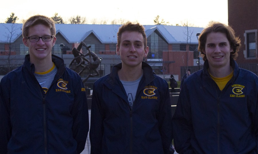 Steven Schimmel, Ryan Mugan and Christian Leitner, pictured in the campus mall, have participated in the Blugolds' Cross Country program for their entire collegiate careers. Throughout their time with the team, they've not only become more disciplined in practice, but have focused on leading healthy lifestyles to improve.