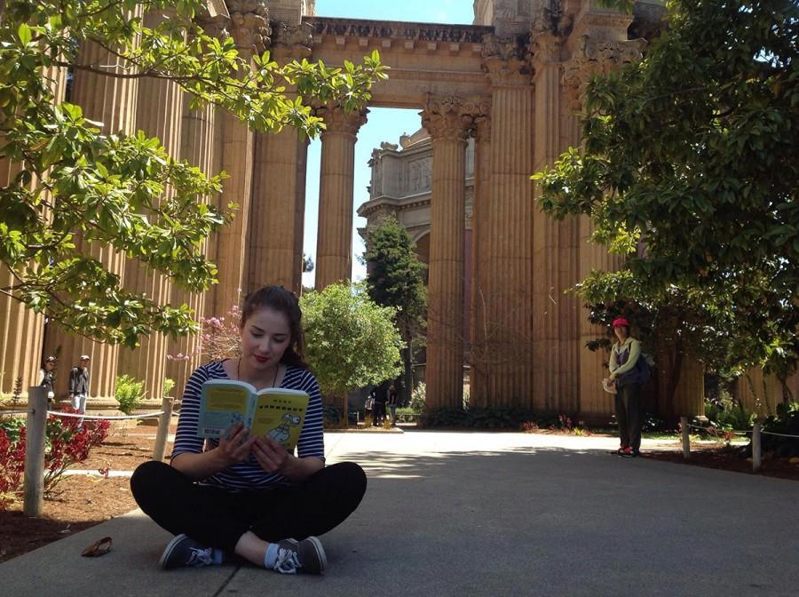 Lara Bockenstedt reads a book in San Francisco.