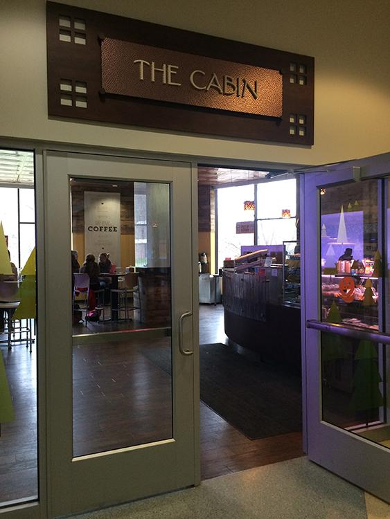 The Cabin in Davies Center offers a warm, cozy destination for students to receive free Caribou Coffee provided by Blugold Dining during finals week.