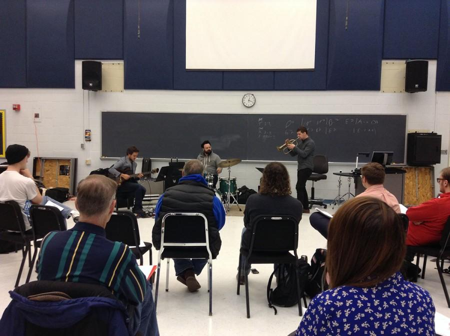 UW-Eau Claire alumnus John Raymond performs with his jazz band, John Raymond & Real Feels before teaching a masterclass open to students and the public Monday in the Haas Fine Arts Center.