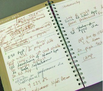 Hultman's planner contains her assignments, appointments and to-do lists for the week.