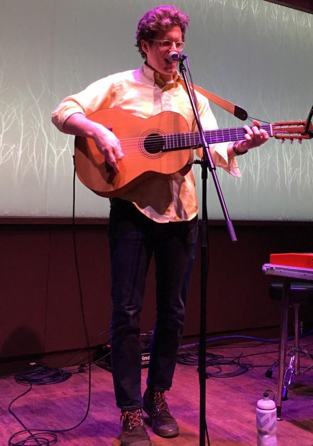 """Local folk singer J.E. Sunde performed thought provoking songs from his album """"Shapes That Kiss The Lips of God"""" Friday night at The Cabin."""