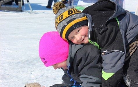 Bottom to top: Four-year-old William, 6-year-olds Henry and Abbott after participating in the Kids Klub contest of the Jig's Up ice-fishing event Saturday on Lake Altoona.