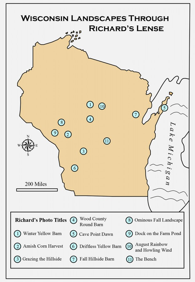 Sites of Richard Wunsch's photographs from The Midwestern Landscape exhibit according to the GPS coordinates his camera recorded.