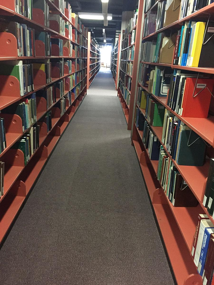 The fourth floor of the McIntyre library houses rows upon rows of books for student use