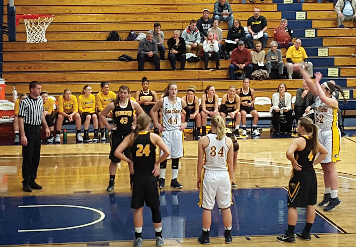 Sophomore Erin O'Toole, the conferences leading scorer, shoots a free throw in Wednesdays 57-44 loss to UW-Oshkosh in Zorn Arena.