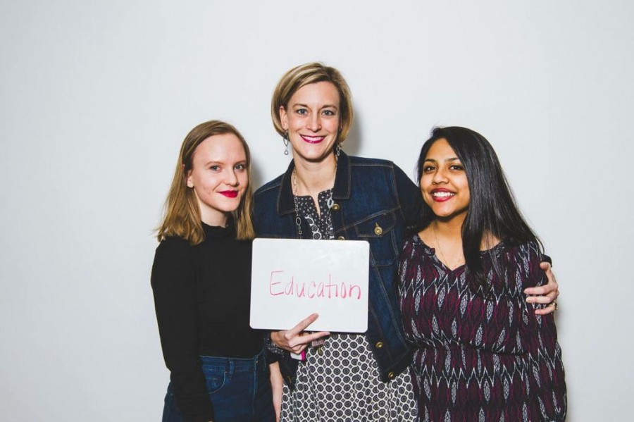 Mary Shaw and two friends gather during the Red Lip Project to show off what empowers them most.